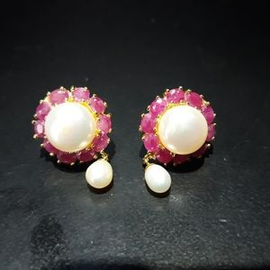 Jewelry - Natural Ruby and Pearl Earrings c5
